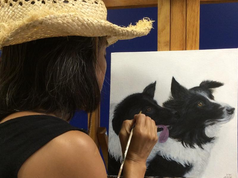 Border Collies painting in progress.